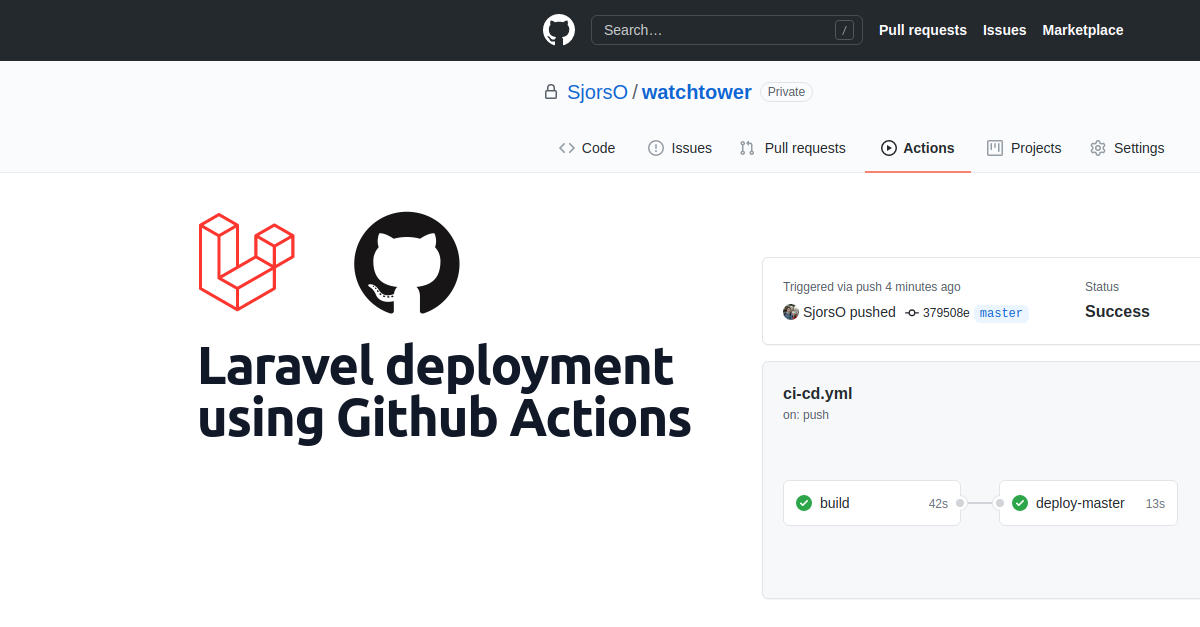 Laravel deployment using Github Actions